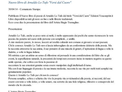 """Comunicato Stampa: """"Versi dal Cuore"""""""